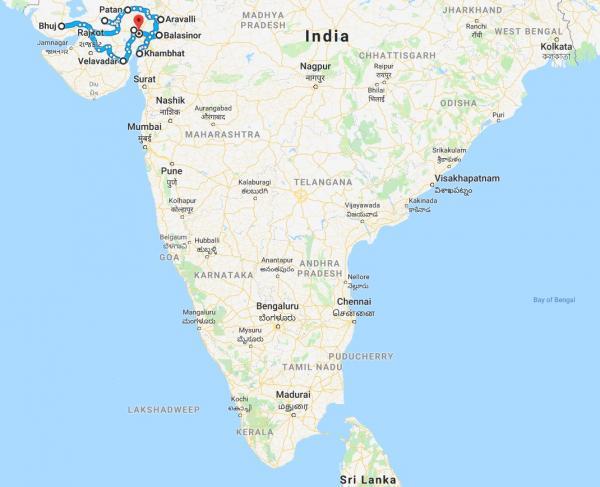 Map India Tour - Inala Nature Tours